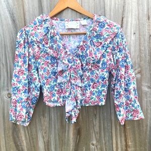 Extra Femme Vintage Ruffle Button Down Top